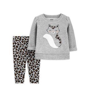 💕NEW💕 Baby Girl Fleece Top & Leggings 2pc Outfit